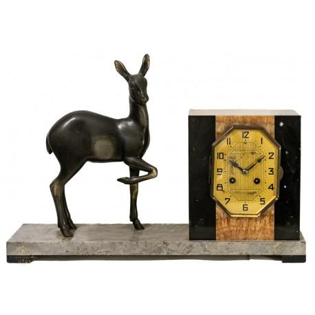 Reloj Art Deco de sobremesa en mármol, funcionando perfectamente