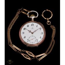 Elegante reloj de bolsillo OMEGA suizo de plata y funcionando