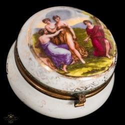 Elegante caja joyero de porcelana antigua de colección,pintado a mano
