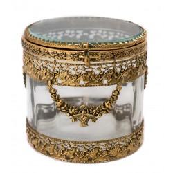 Joyero antiguo de época Charles X Cristal Baccarat Creusot combinado con Bronce, siglo XIX