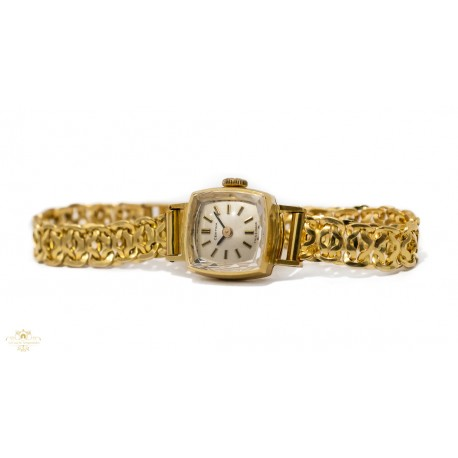 Espectacular reloj de oro para mujer, de cuerda manual de la marca Certina, funcionando perfectamente.