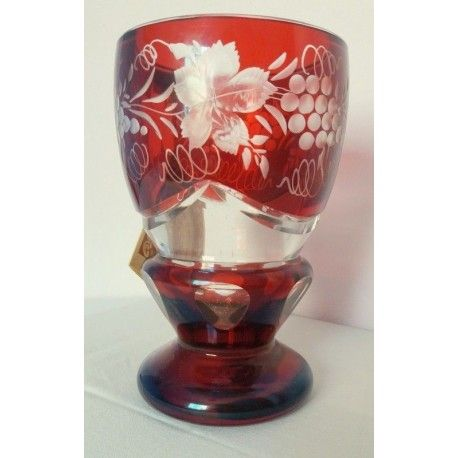 Antigua copa de Bohemia tallada a mano