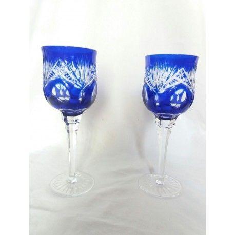 Elegante pareja de cristal de bohemia, tallados a mano, en excelente estado.